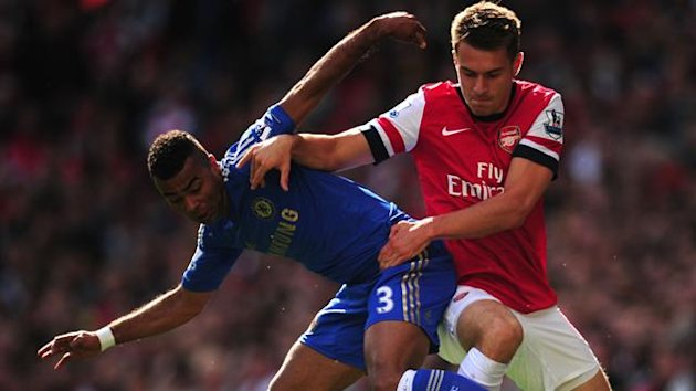 Aaron Ramsey battles with Ashley Cole (PA Photos)