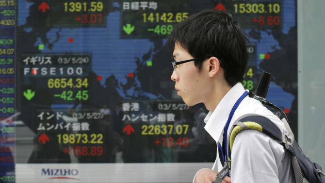 A youth walks by an electronic stock board of a securities firm in Tokyo Monday, May 27, 2013. The Nikkei 225 closed down 469.80 points, or 3.22 percent at 14,142.65 Monday after the yen reversed some of its recent fall against the U.S. dollar. Stocks elsewhere in Asia were mixed as investors tried to sort out conflicting indicators about the health of the global economy. (AP Photo/Koji Sasahara)