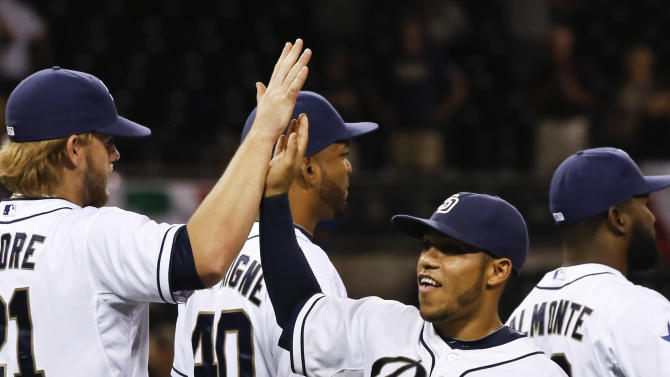 San Diego Padres' Alexi Amarista, right, celebrates with teammates after their 5-4 win over the Philadelphia Phillies in a baseball game Tuesday, Sept. 16, 2014, in San Diego. (AP Photo/Don Boomer)
