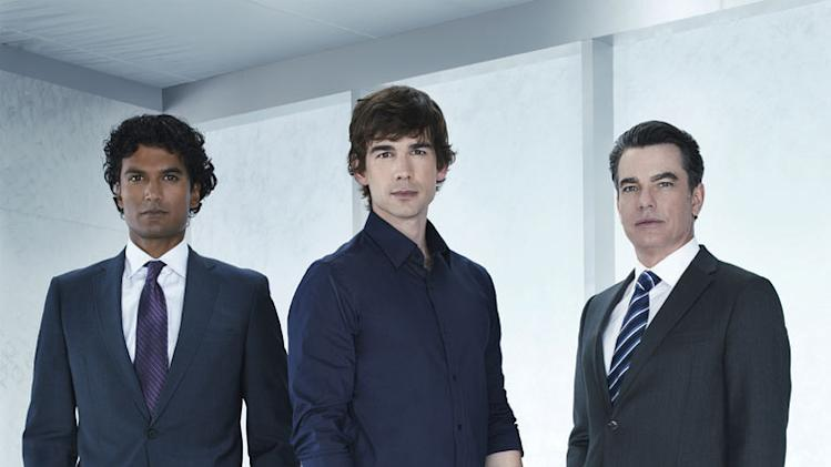 "Sendhil Ramamurthy as Jai Wilcox, Christopher Gorham as Auggie Anderson, Peter Gallagher as Arthur Campbell in ""Covert Affairs."""