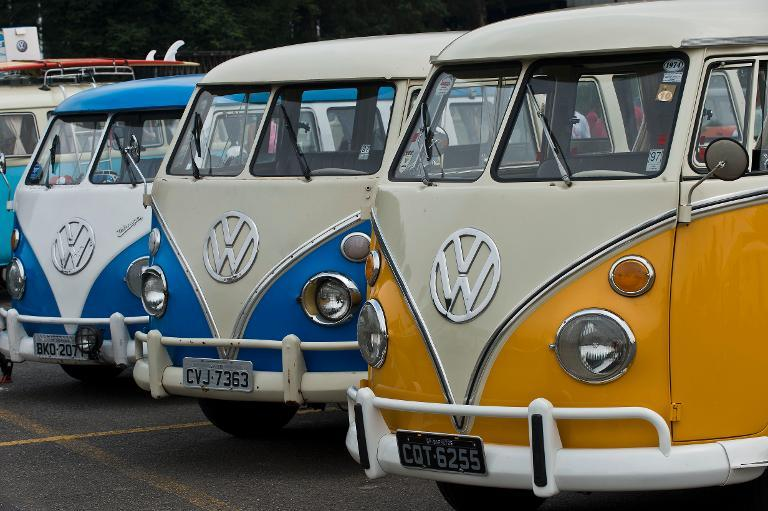 View of different models of Kombi during an exhibition at the Volkswagen plant in Sao Bernardo do Campo, southern Sao Paulo, Brazil on December 8, 2013