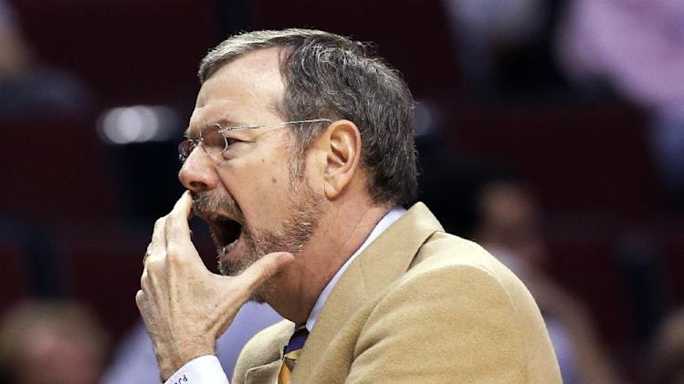 Brooklyn Nets interim head coach P.J. Carlesimo reacts as he watches his team during the first half in Game 6 of their first-round NBA basketball playoff series against the Chicago Bulls in Chicago, Thursday, May 2, 2013. (AP Photo/Nam Y. Huh)