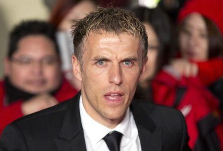 "Soccer player Phil Neville attends the world premiere of the film ""The Class of 92"" in London"