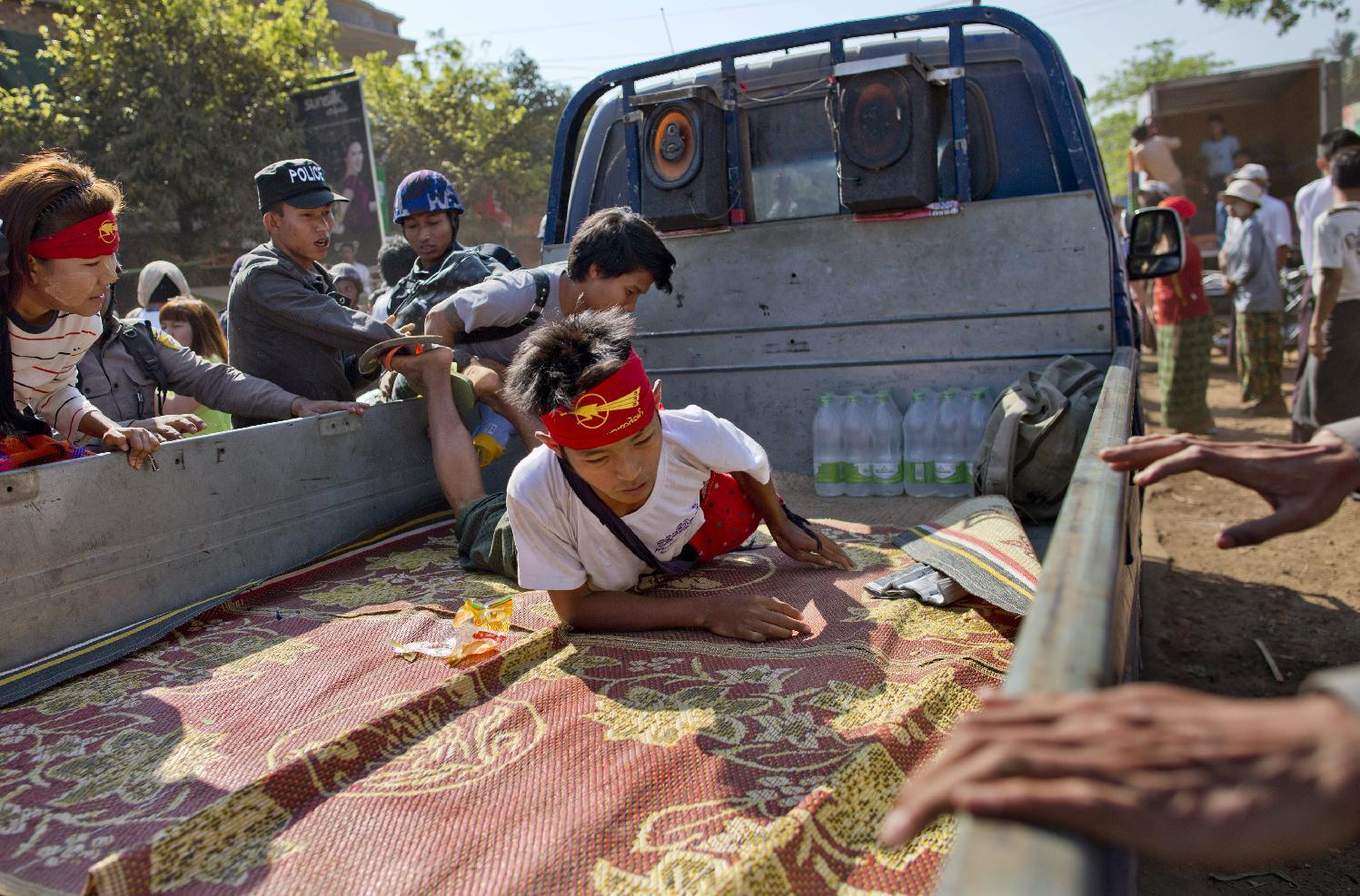 Myanmar police crack down on protesters for third day