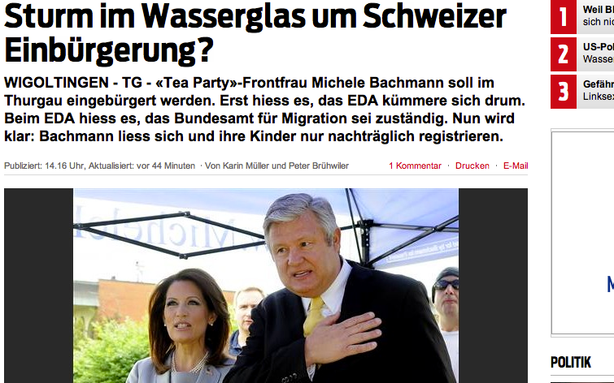Switzerland Ponders Michele Bachmann's Dual Citizenship