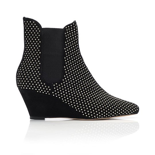 Allie Wedge Bootie Silver studs