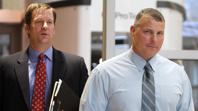 FILE -In this Oct. 4,2011 file photo former CIA contractor Raymond Davis, right, and his attorney William Frankfurt arrive at the Douglas County Courthouse in Castle Rock, Colo., for a court hearing on felony assault charges. In January 2011, the CIA contractor sparked outrage when he shot to death two Pakistanis in the city of Lahore who he claimed were trying to rob him. The U.S. and Pakistan are starting to look more like enemies than friends, threatening the U.S. fight against Taliban and al-Qaida militants based in the country and efforts to stabilize neighboring Afghanistan before American troops withdraw. (AP Photo/Ed Andrieski, File)