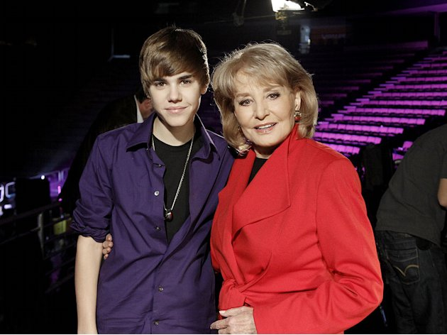 "Barbara Walters interviews teen sensation Justin Bieber backstage at the Izod Arena in New Jersey, for ""Barbara Walters Presents: The 10 Most Fascinating People of 2010."""