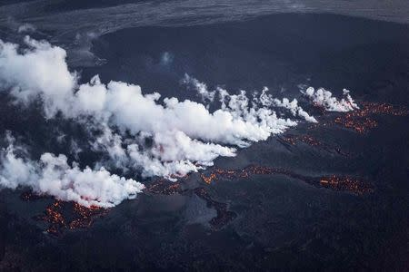 Picture shows magma along a 1-km-long fissure in a lava field north of the Vatnajokull glacier, which covers part of Bardarbunga volcano system