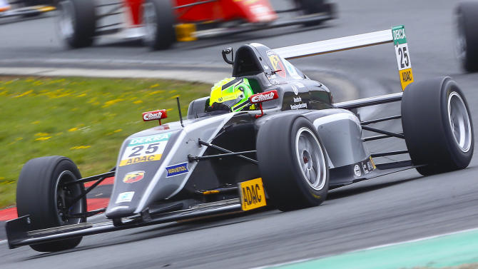 Van Ammersfoort Formula Four driver Schumacher of Germany drives during the second race of the ADAC F4 season at the Motorsport Arena in Oschersleben