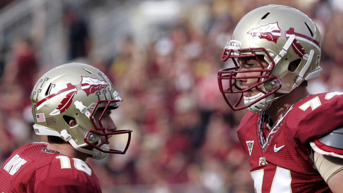 Florida State's Dustin Hopkins, left, is congratulated by teammate Jonathan Wallace after kicking a field goal against Duke in the first quarter of an NCAA college football game on Saturday, Oct. 27, 2012, in Tallahassee, Fla. Florida State won the game 48-7. (AP Photo/Steve Cannon)