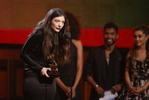 Lorde accepts the award for best pop solo performance …