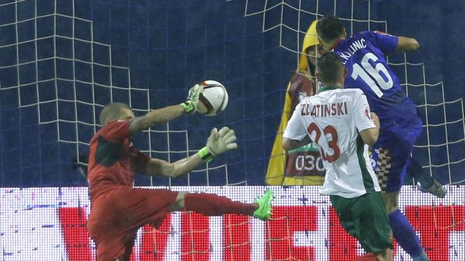 Croatia's Kalinic scores against Bulgaria during Euro 2016 qualification soccer match in Zagreb
