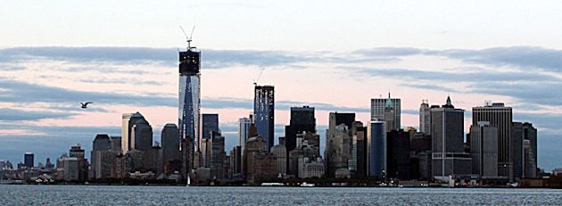 View of Lower Manhattan from the Staten Island Ferry as New York recovers from Hurricane Sandy on November 4, 2012 in New York, New York. AFP PHOTO / Mehdi Taamallah
