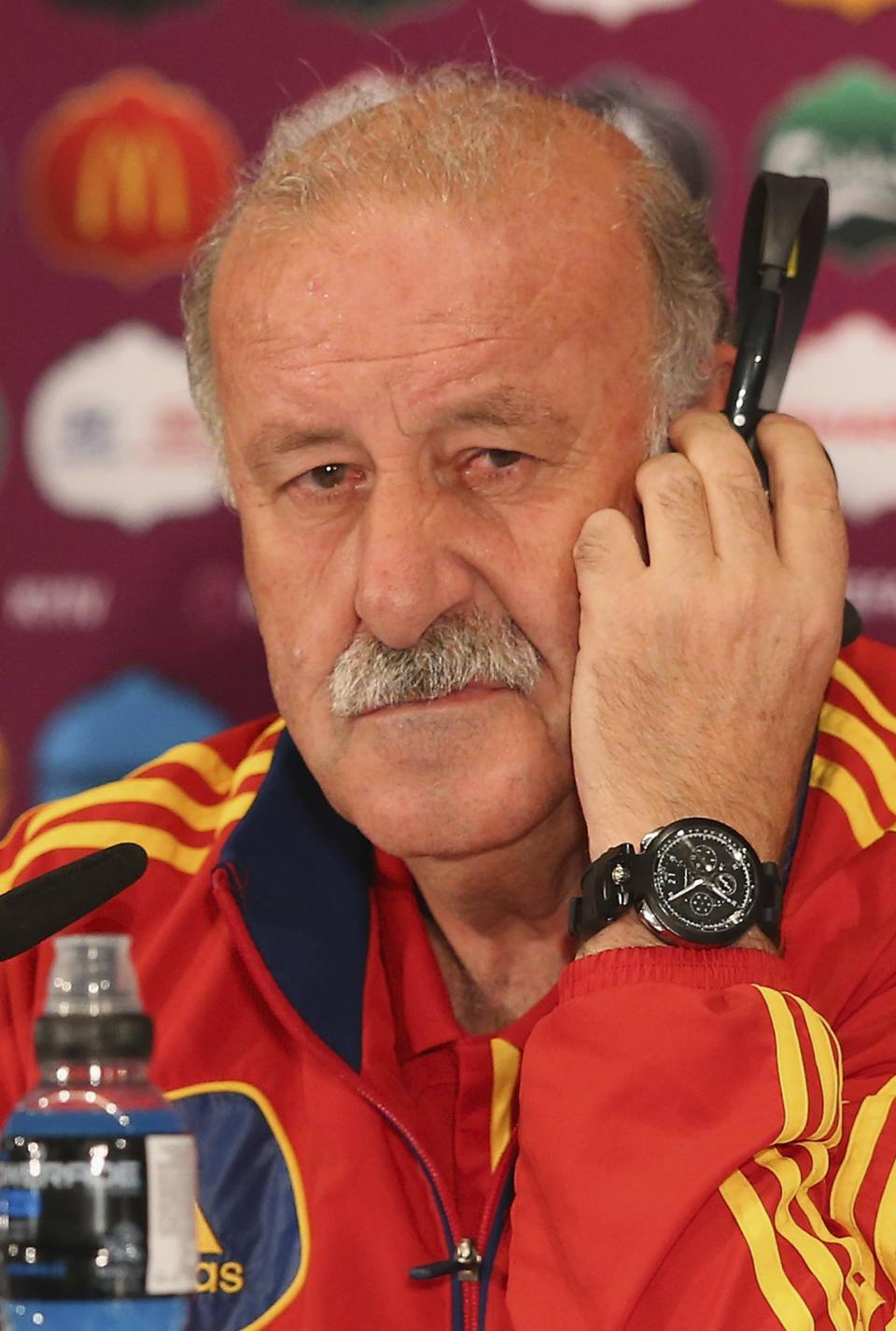 In this handout image provided by UEFA Spain coach Vicente del Bosque talks to the media during a Euro 2012 soccer championship press conference at the Olympic Stadium in Kiev, Ukraine, Saturday, June 30, 2012, on the eve of the final between Spain and Italy.  (AP Photo/UEFA via Getty Images)