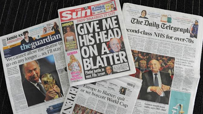 British national newspapers focus on the FIFA crisis
