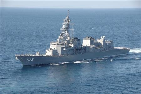 Japan Maritime Self-Defense Force destroyer Yuudachi is seen in this undated handout photo released by Japan Maritime Self-Defense Force and obtained by Reuters on February 5, 2013. REUTERS/Japan Maritime Self-Defense Force/Handout