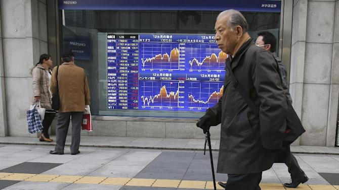 People walk by an electronic stock board of a securities firm in Tokyo Monday, Jan. 26, 2015. Asian stocks and the euro were weaker Monday after Greece's anti-austerity opposition party won a big victory in national elections, renewing fears the European common currency bloc could unravel. Japan's Nikkei 225 dropped 43.23 points or 0.25 percent and closed at 17,468.52 for the day. (AP Photo/Koji Sasahara)