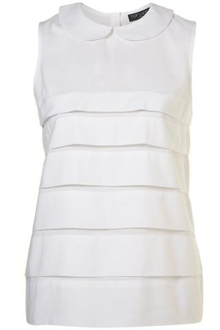 Sleeveless Peter Pan tiered blouse, $66, at Topshop