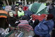 Protesters are bedding down for another night outside St Paul's Cathedral in central London