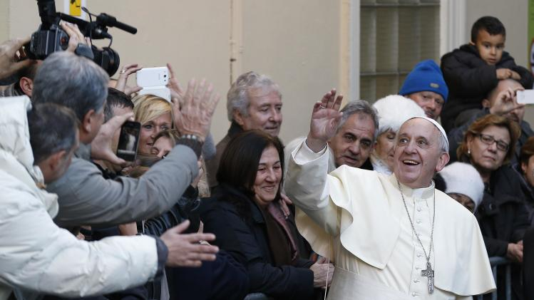 Pope Francis arrives for a visit at the Bambino Gesu Pediatric Hospital in Rome