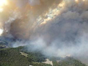 Smoke rises from the TePee Springs fire in the Payette…