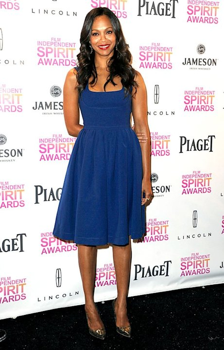 Zoe Saldana was all smiles upon arriving at the Indie Spirit Awards press conference, where she announced this year's nominees alongside Anna Kendrick and Common. Yes, her cobalt-blue Preen dress was 