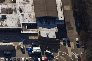 An aerial photo shows the front of Sandy Hook Elementary School in Newtown, Connecticut