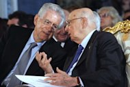 Photo Roberto Monaldo / LaPresse 01-05-2012 Rome Quirinale palace - Labour Day In the photo Mario Monti, Giorgio Napolitano
