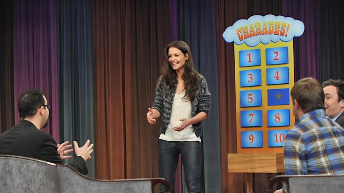 "Katie Holmes Visits ""Late Night With Jimmy Fallon"""