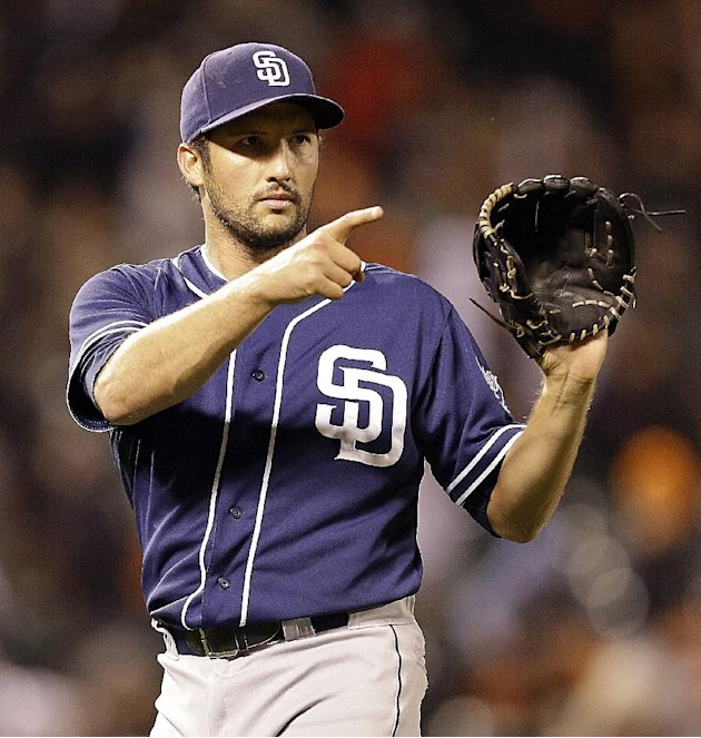 San Diego Padres' Huston Street reacts after the final out is made against the San Francisco Giants in the 13th inning of a baseball game Monday, June 17, 2013, in San Francisco. Padres won 5-3