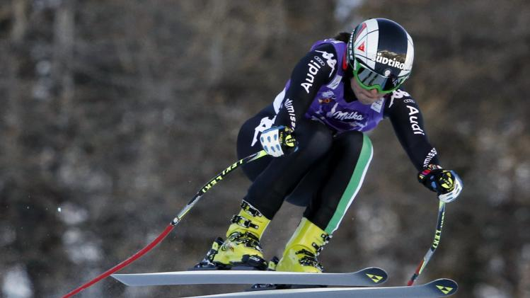 Italy's Fanchini skis during the Women's World Cup Downhill skiing race in Val d'Isere
