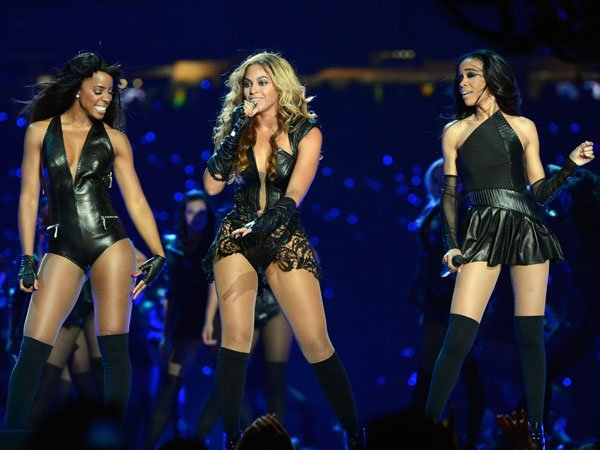 Kelly Rowland, Beyonce Knowles and Michelle Williams of Destiny's Child perform during the Pepsi Super Bowl XLVII Halftime Show at Mercedes-Benz Superdome on February 3, 2013 in New Orleans, Louisiana