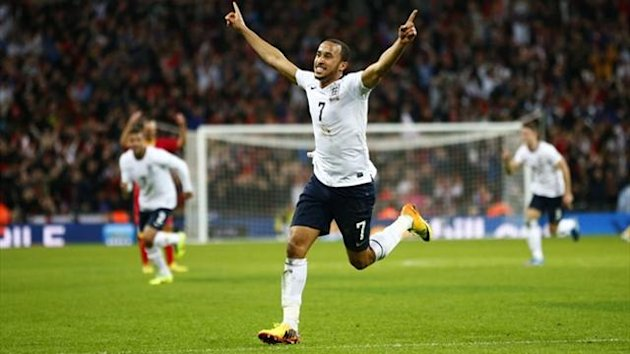 England's Andros Townsend celebrates scoring his team's third goal against Montenegro (Reuters)