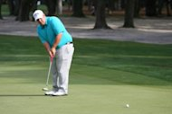 Colt Knost putts for birdie on the 11th hole during the second round of the Heritage Classic in Hilton Head Island, South Carolina