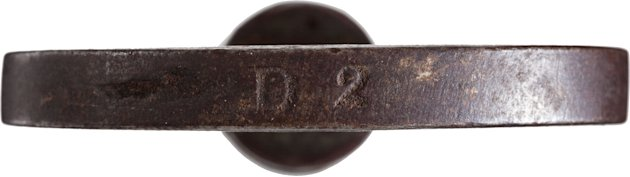 "This June 17, 2013 photo provided by Heritage Auctions, shows a close-up of the marking, ""D2"" on the left-handed thread key that locked and unlocked the leg irons that held abolitionist John Brown dur"