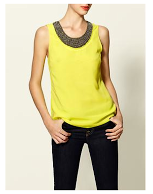 Neon Beaded Neck Top, $44