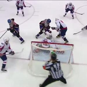 Thomas Vanek jams it past Holtby