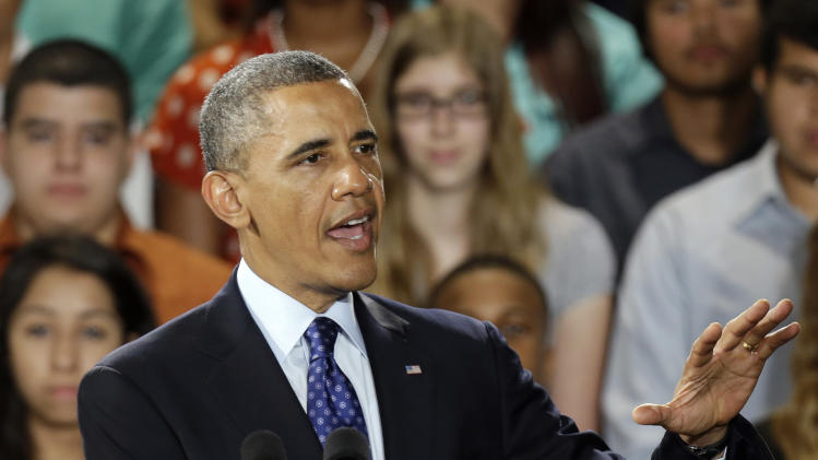 President Barack Obama speaks during a visit to the Manor New Tech High School in Manor, Texas, Thursday, May 9, 2013. (AP Photo/LM Otero)