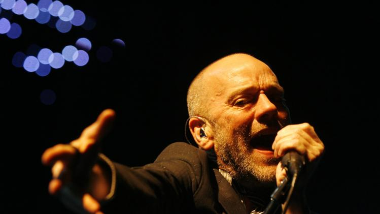 "FILE - In this Sept. 24, 2008 file photo, Michael Stipe, frontman of the rock band R.E.M., performs on stage at the Hallenstadion in Zurich, Switzerland. The band's 1987 single ""It's the End of the World As We Know It (And I Feel Fine)"" was the most viral track on Spotify for the week of Dec. 17, 2012. (AP Photo/Keystone/Steffen Schmidt)"