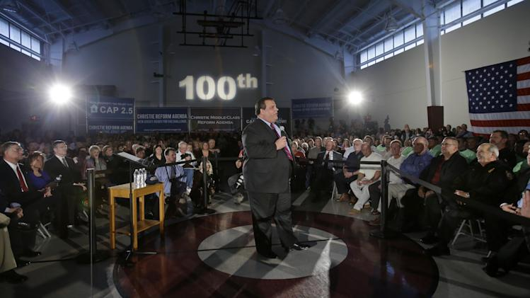 New Jersey Gov. Chris Christie addresses an overflow crowd at Saint Mary's of The Pines Church Parish Wednesday, Jan.16, 2013, in Manahawkin, N.J., as he returned to the Jersey Shore for his 100th town hall. The 2-square-mile community of 2,300 people in Ocean County is the gateway to Long Beach Island, an area hit hard by Superstorm Sandy. (AP Photo/Mel Evans)