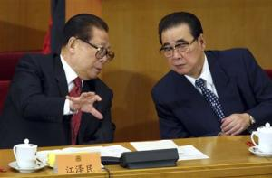 File picture of shows China's President Jiang with top lawmaker Li Peng, Chairman of the National People's Congress, in Beijing
