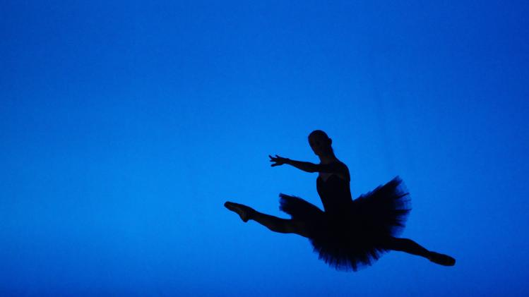 "A member of the State Opera ballet dances during a dress rehearsal of ""Etudes"" in Vienna"