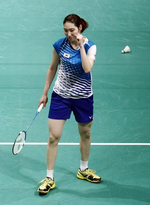 South Korea's Sung Ji -hyun celebrates after winning the women's single match against Thailand's Inthanon Ratchanok at the semi-finals of the Sudirman Cup in Kuala Lumpur