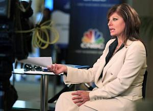 "Television journalist Maria Bartiromo, anchor of CNBC's ""Closing Bell with Maria Bartiromo,"" is shown on location at the Milken Institute Global Conference in Beverly Hills, California"