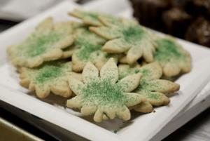 Cookies shaped like marijuana leafs are pictured at the Cannabis Carnivalus 4/20 event in Seattle