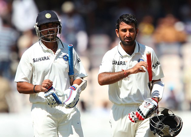 Cheteshwar Pujara and Murali Vijay during their partnership of 370 runs for India against Australia in the Hyderabad cricket Test on March 4 2013 (BCCI Photo)
