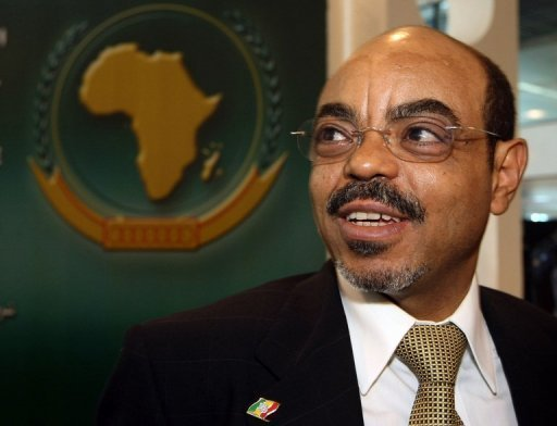 <p>The late Ethiopian Prime Minister Meles Zenawi, seen in Egypt in 2008. African leaders on Tuesday mourned the death of Meles after the strongman's more than two decades in power. Meles, a former rebel fighter who came to power in 1991 after toppling the bloody dictatorship of Mengistu Haile Mariam, had not been seen in public for two month.</p>