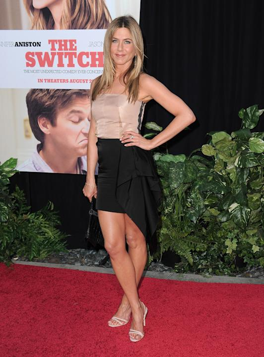 Jennifer Aniston in a colorblock strapless dress