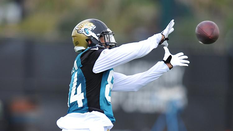 Cecil Shorts III catches the ball during NFL football training camp Friday, July 25, 2014, in Jacksonville, Fla. (AP Photo/Florida Times-Union, Bruce Lipsky)